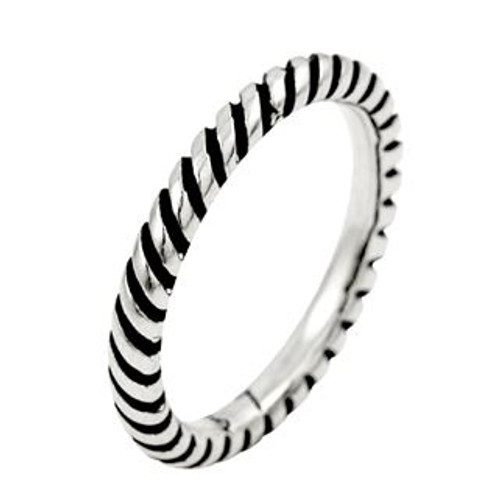 STERLING SILVER TWISTED ROPE STACKABLE BAND