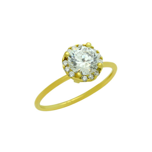 GOLD PLATED 6.5MM CLEAR ROUND CZ RING WITH SURROUNDING CLEAR CZ STONES