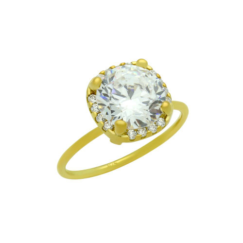 GOLD PLATED CLEAR 9MM ROUND CZ RING WITH SQUARE DESIGN SURROUNDING CLEAR CZ STONES