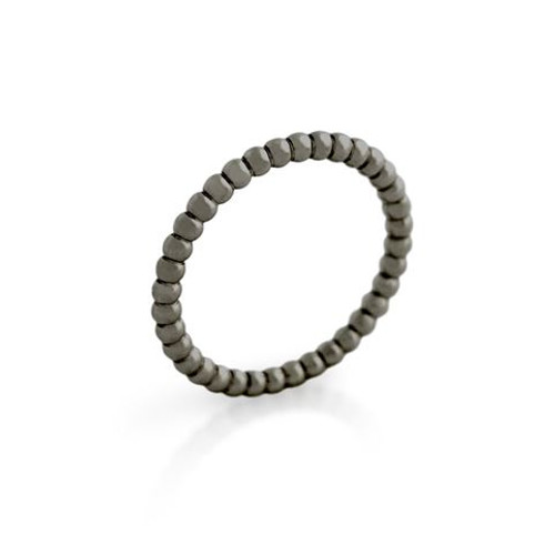 BLACK RHODIUM PLATED BEAD DESIGN STACKABLE BAND (SZ 9-12)