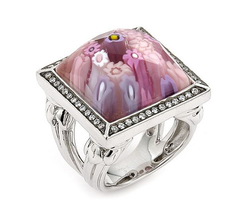 EXQUISITE COLLECTION PINK SQUARE RING WITH HIGH QUALITY CZ MICROSETTING