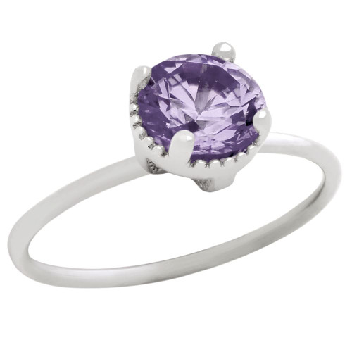 RHODIUM PLATED JUNE BIRTHSTONE ALEXANDRITE LIGHT PURPLE ROUND CZ RING