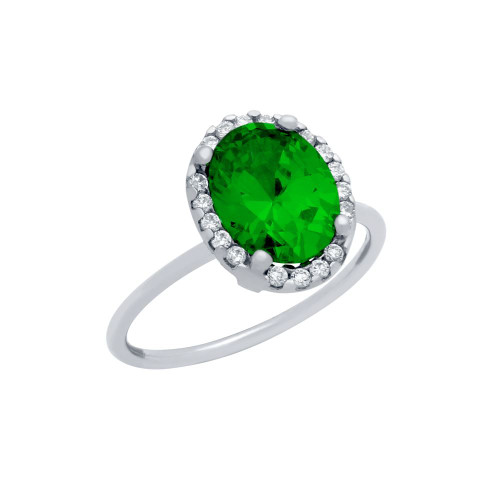 RHODIUM PLATED EMERALD GREEN OVAL CZ RING WITH SURROUNDING CLEAR CZ STONES