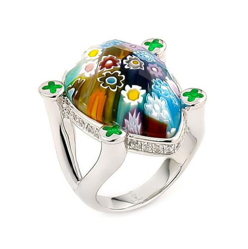 EXQUISITE COLLECTION FACETED MULTI COLOR MURANO GLASS DROP RING WITH HIGH QUALITY CZ MICROSETTING