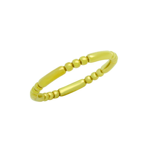 GOLD PLATED 2.5MM BEAD AND BAR STYLE BAND RING