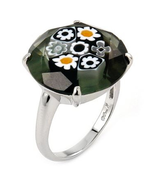 MURANO MILLEFIORI FACETED 18MM BLACK AND WHITE RING