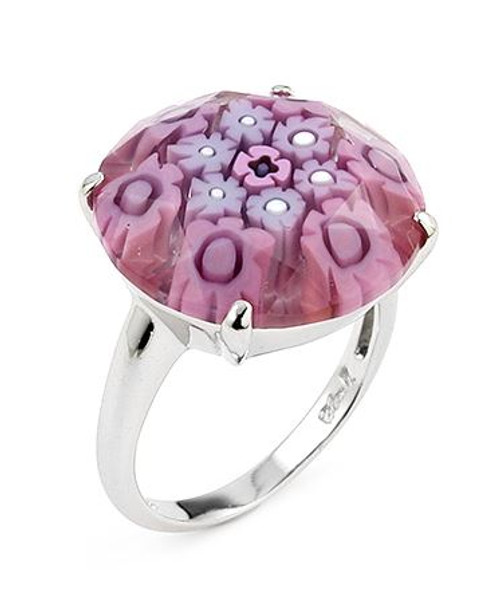 MURANO MILLEFIORI FACETED 18MM PINK COLOR ROUND RING