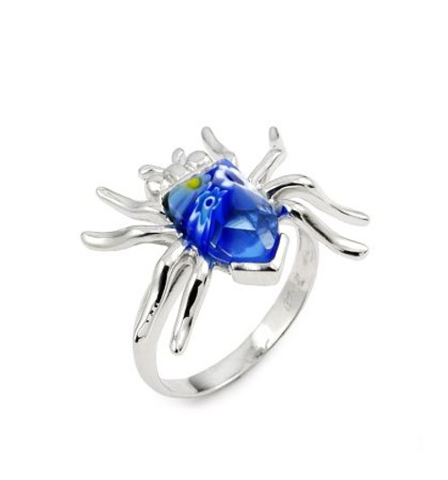 MURANO MILLEFIORI BLUE FACETED SPIDER RING