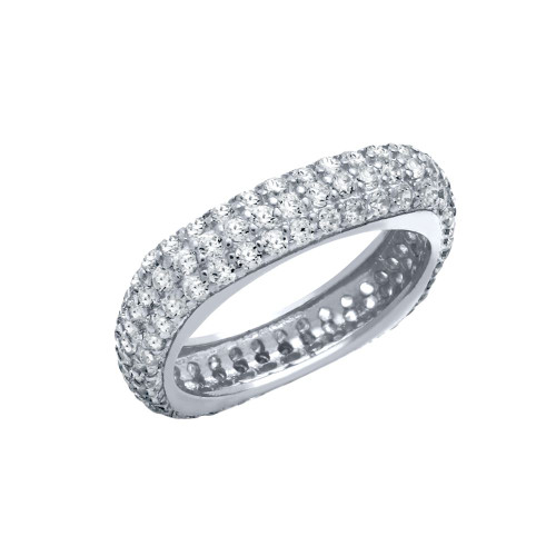 RHODIUM PLATED THREE ROW CZ PAVE RING