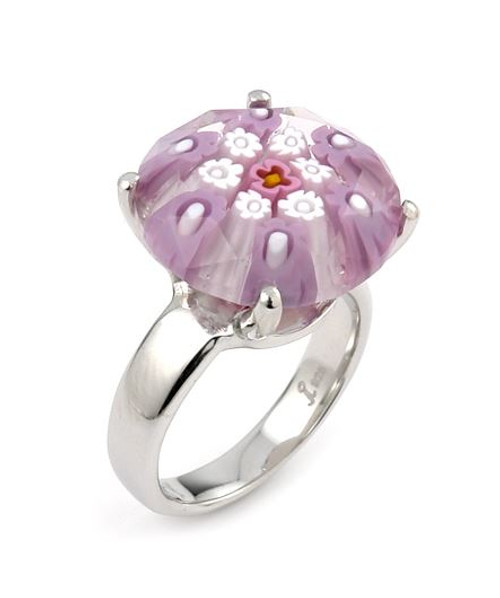 EXQUISITE COLLECTION FACETED PINK MURANO GLASS SMALL ROUND RING