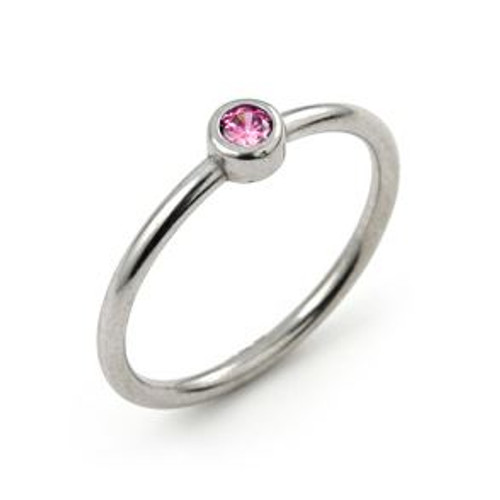 3MM SWAROVSKI PINK CZ BEZEL SET STACKABLE BAND RING