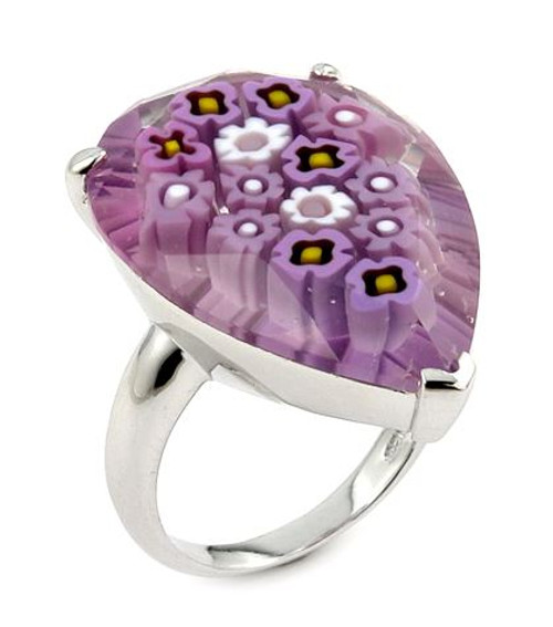 MURANO MILLEFIORI FACETED PINK 20X28MM PEAR SHAPE RING