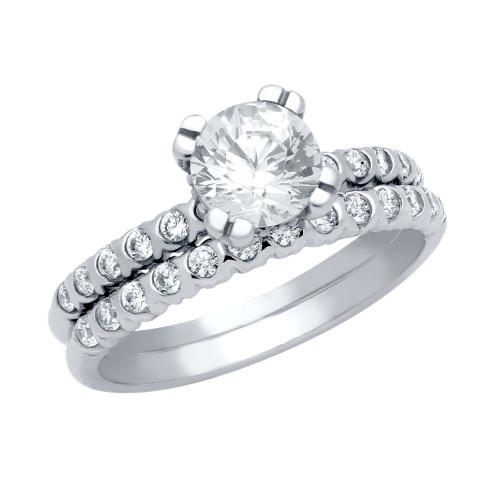 RHODIUM PLATED ROUND CZ CIRCULAR DESIGN RING AND XO ETERNITY BAND WEDDING SET
