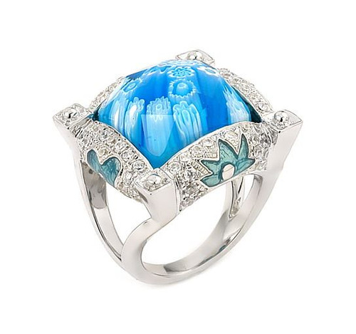 EXQUISITE COLLECTION FACETED BLUE MURANO GLASS SQUARE RING WITH HIGH QUALITY CZ MICROSETTING