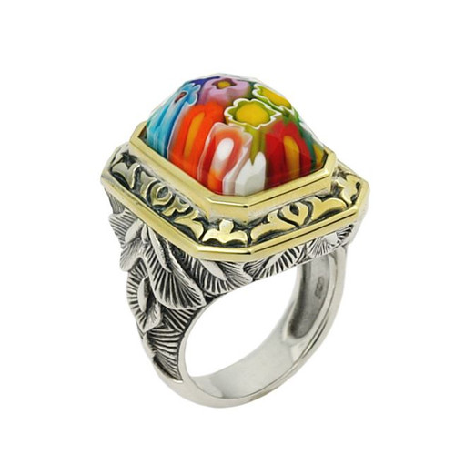 EXQUISITE COLLECTION FACETED MULTI COLOR MURANO GLASS RECTANGLE SHAPE RING WITH BRASS ACCENTS