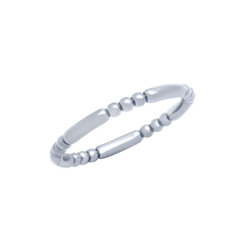 RHODIUM PLATED 2.5MM BEAD AND BAR STYLE BAND RING