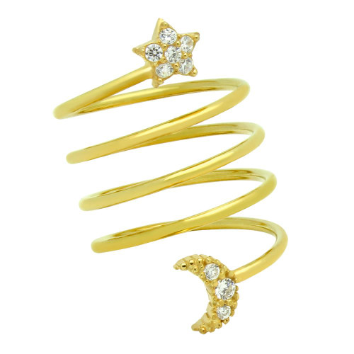 "GOLD PLATED SPIRAL ""SPRING RING"" WITH CZ PAVE MOON AND STAR"