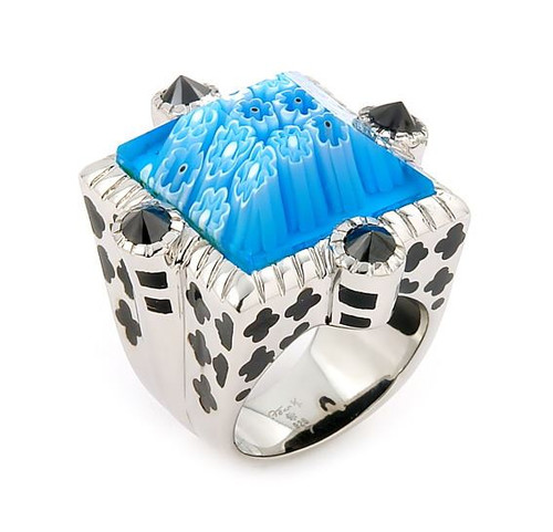 EXQUISITE COLLECTION BEVEL CUT BLUE MORANO GLASS SQUARE RING WITH BLACK STONE ACCENTS