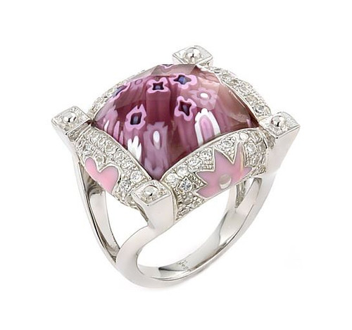 EXQUISITE COLLECTION FACETED PINK MURANO GLASS SQUARE RING WITH HIGH QUALITY CZ MICROSETTING