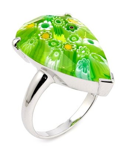 MURANO MILLEFIORI FACETED GREEN 14x22MM DROP SHAPE RING