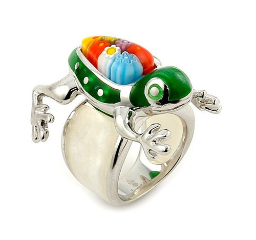 GREEN AND WHITE FROG MILLACRELI ANIMAL RING
