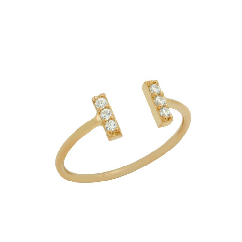 ROSE GOLD PLATED ADJUSTABLE STACKABLE RING WITH DOUBLE CZ BARS