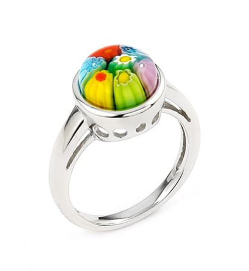 MULTICOLOR MURANO MILLEFIORI 10MM ROUND RING