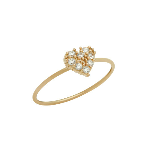 ROSE GOLD PLATED PAVE CLEAR CZ HEART STACKABLE RING