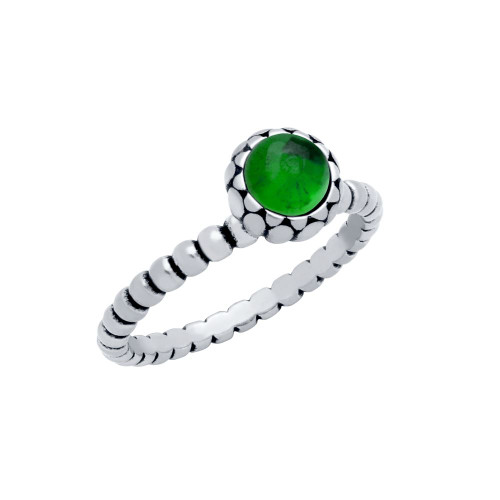 STERLING SILVER BEAD DESIGN RING WITH 5MM CABOCHON EMERALD