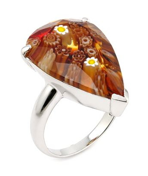 MURANO MILLEFIORI FACETED BROWN 14x22MM DROP SHAPE RING