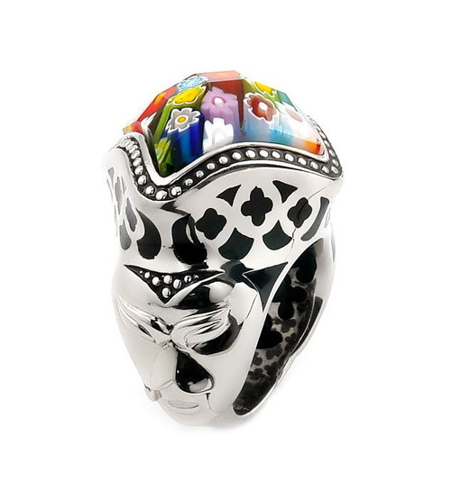 EXQUISITE COLLECTION FACETED MULTI COLOR MURANO GLASS DIAMOND SHAPE RING WITH MASK ACCENTS