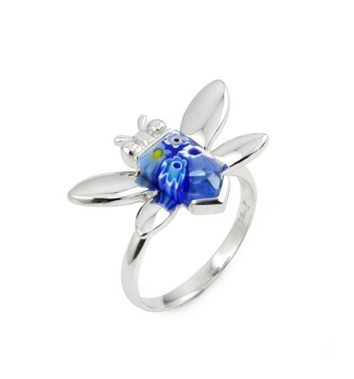 MURANO MILLEFIORI BLUE FACETED BEE RING