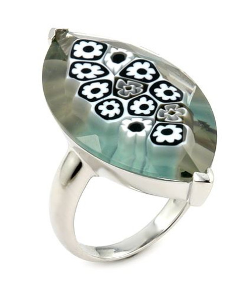 MURANO MILLEFIORI FACETED BLACK AND WHITE 18X32MM MARQUISE SHAPE RING