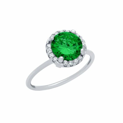 RHODIUM PLATED EMERALD GREEN ROUND CZ RING WITH SURROUNDING CLEAR CZ STONES