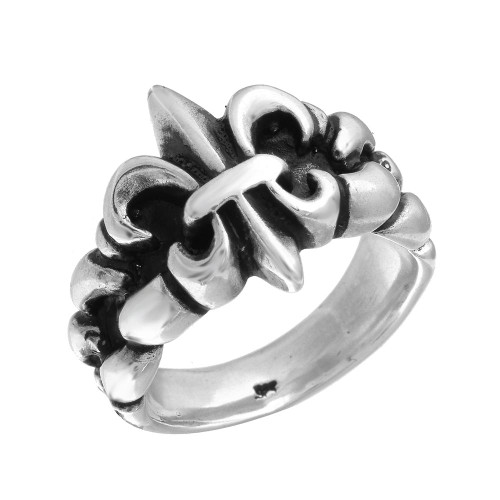 TWISTED BLADE SILVER ORNATE FLEUR DE LIS RING