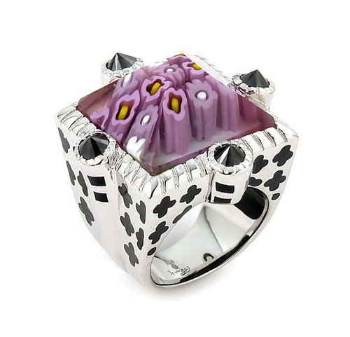 EXQUISITE COLLECTION BEVEL CUT PINK MURANO GLASS SQUARE RING WITH BLACK STONE ACCENTS