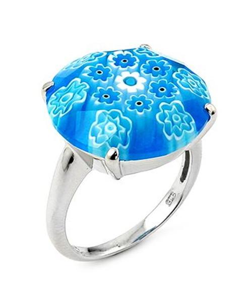 MURANO MILLEFIORI FACETED 18MM LIGHT BLUE RING