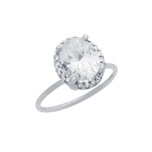 RHODIUM PLATED CLEAR OVAL CZ RING WITH SURROUNDING CLEAR CZ STONES