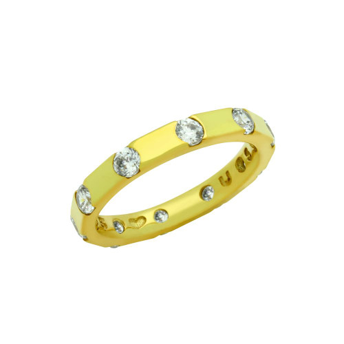 GOLD PLATED ROUND CZ SPACED STYLE BAND RING