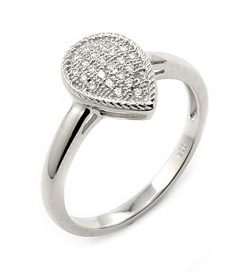 MICRO PAVE CZ DROP SHAPE RING
