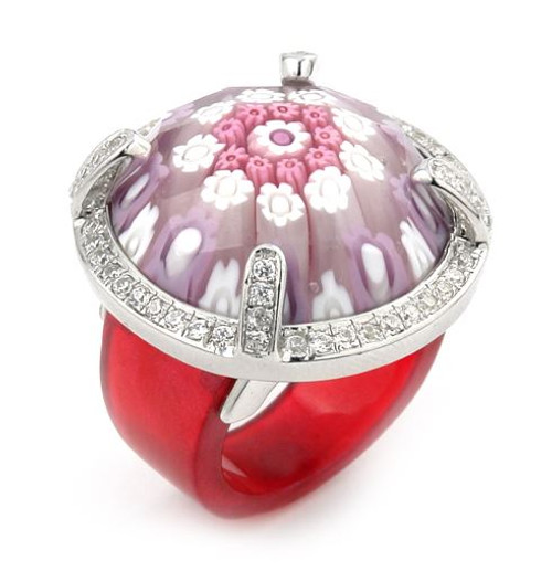 EXQUISITE COLLECTION FACETED PINK MURANO GLASS RING WITH HIGH QUALITY CZ MICROSETTING