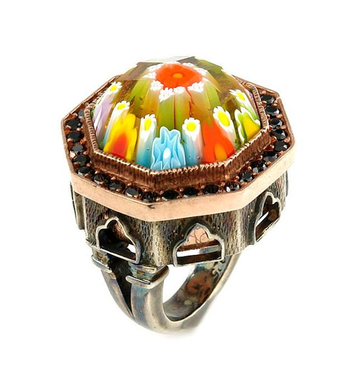 SIGNATURE COLLECTION FACETED MLT MURANO GLASS OCTAGON RING WITH COPPER AND SIGNITY CZ ACCENTS