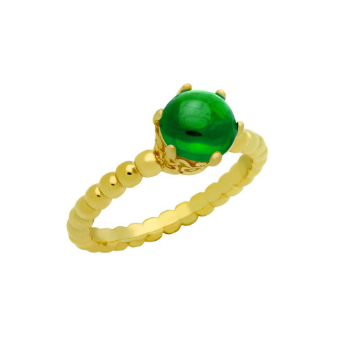 GOLD PLATED BEAD DESIGN RING WITH 5MM PRONG SET CABOCHON EMERALD