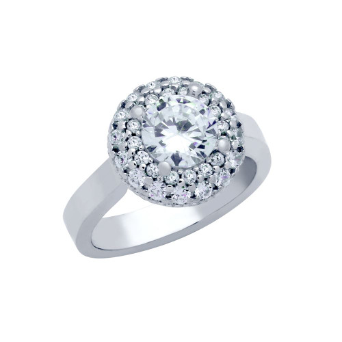 RHODIUM PLATED CIRCULAR DESIGN ROUND CZ ENGAGEMENT RING