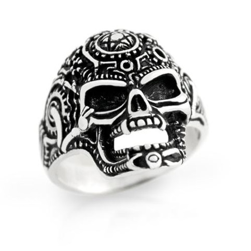 STERLING SILVER MENS ALIEN SKULL RING