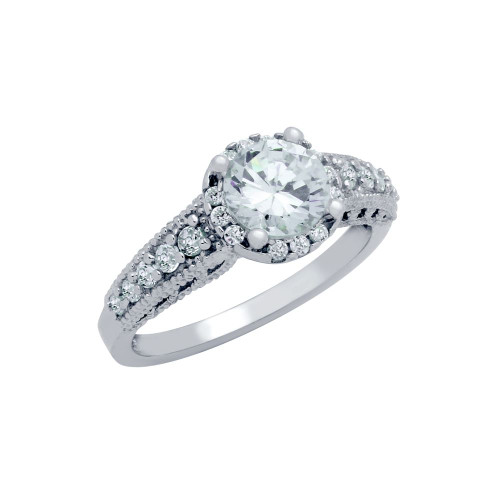 RHODIUM PLATED ROUND CZ BRANCH DESIGN ENGAGEMENT RING