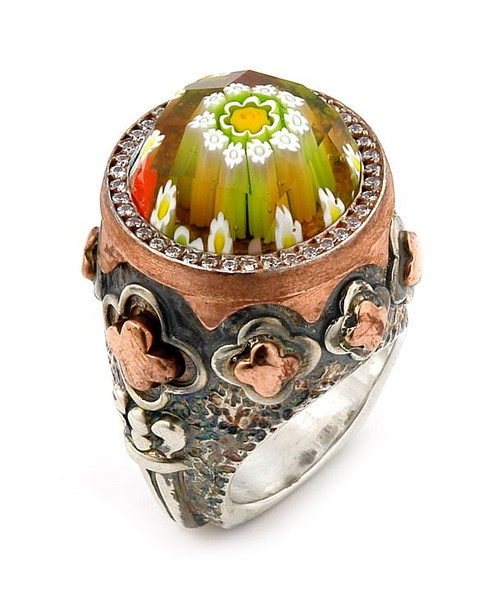 SIGNATURE COLLECTION FACETED MLT MURANO GLASS ROUND RING WITH COPPER AND SIGNITY CZ ACCENTS