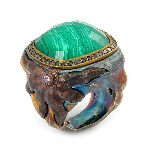 SIGNATURE AUTHENTICO MALACHITE SQUARE FACETED DEMIQUARTZ DOUBLET RING WITH BRASS AND SIGNITY CZ