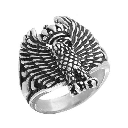 TWISTED BLADE SILVER CROWNED EAGLE RING