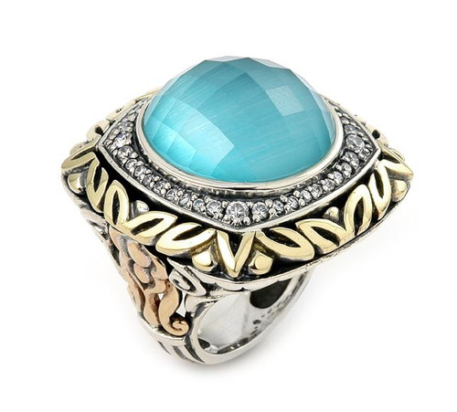 SIGNATURE AUTHENTICO LIGHT BLUE OPAL DEMIQUARTZ DOUBLET SQUARE RING WITH COPPER BRASS AND SIGNITY CZ